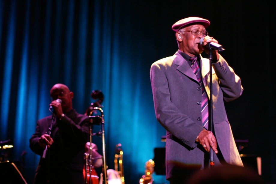 Picture of Ibrahim Ferrer, taken during a concert in the Oosterpoort, Groningen (The Netherlands) at October 20th 2004. Picture by Patrick Sinke.